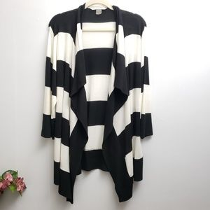 Peter Nygard Striped  Black White Open Cardigan  M